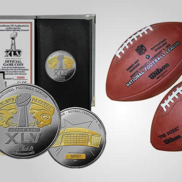 os objetos de memorabilia son indispensables para los fanáticos. Una moneda de plata, que tiene grabados los cascos de los dos equipos, con un valor de 89 dólares y una réplica del balón oficial del partido, por 129 dólares.