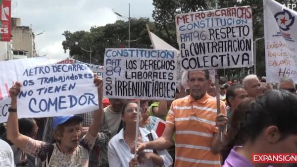 Trabajadores protestan en  Venezuela