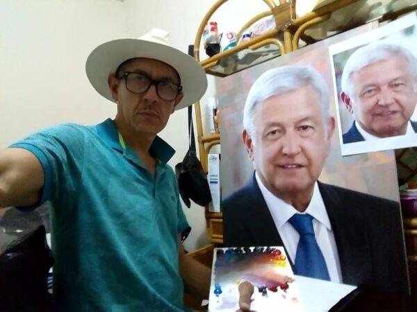 Ernesto Ríos Rocha pintando cuadro de Andrés Manuel López Obrador. .jpg