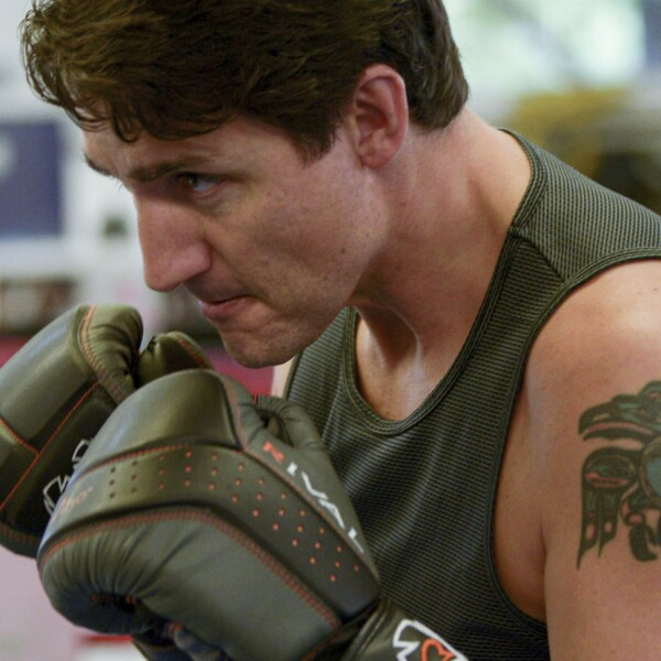 Liberal Party leader and Canadian Prime Minister Justin Trudeau trains with boxer Ali Nestor in Montreal