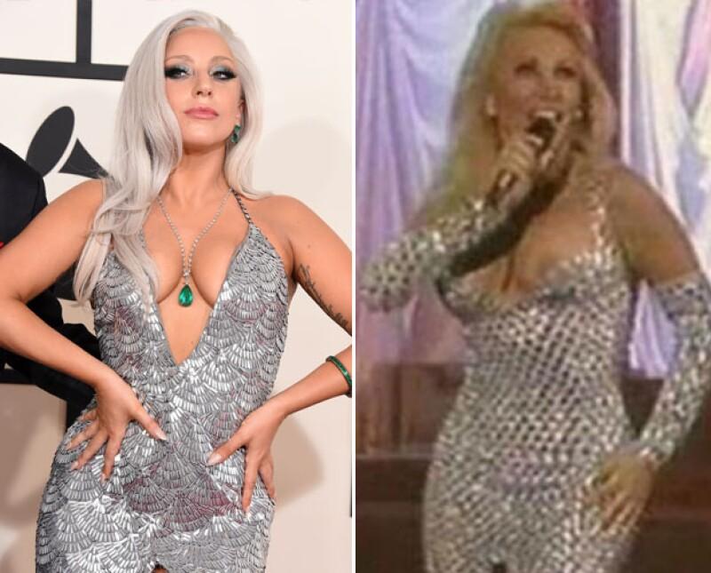 Por la red comenzó a circular este meme del vestido de Lady Gaga.