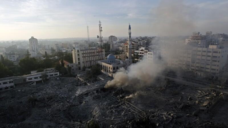 Ministerio de Seguridad en Gaza atacada por Israel el 21 de nov
