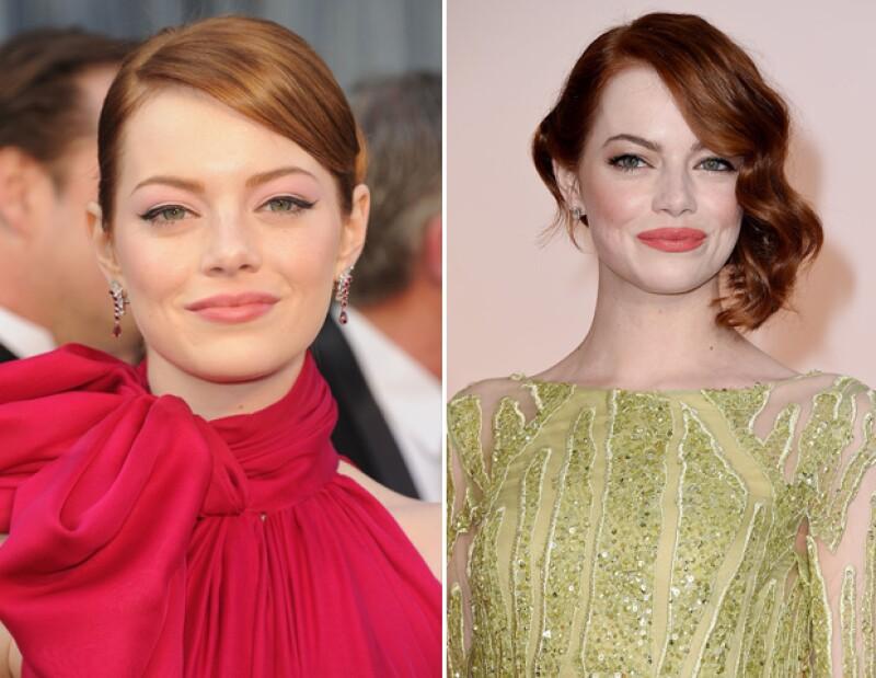 Unos mechones sueltos hacen la diferencia, checa el look de Emma Stone