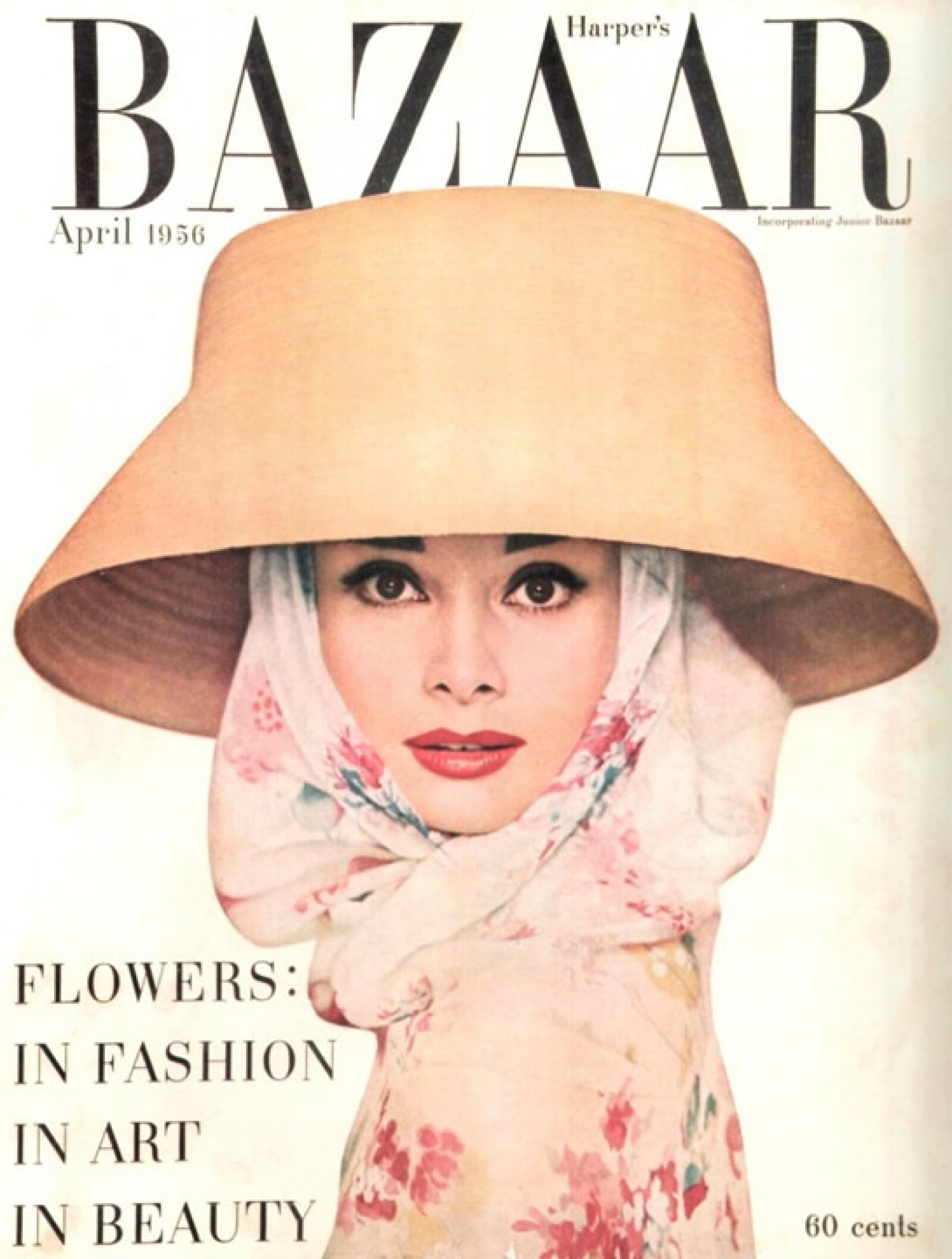 Harpers Bazaar, abril 1956: Audrey Hepburn fue la portada del mes de abril para la revista.