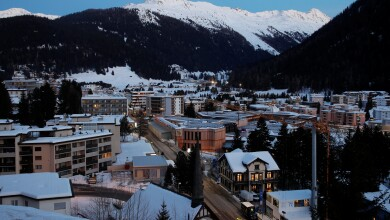 General view shows the congress centre, the venue of the World Economic Forum in Davos