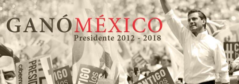 """A través de Facebook, la actriz subió una imagen donde aparece el candidato del PRI, Enrique Peña Nieto, con la leyenda : """"México ganó, Presidente 2012""""."""