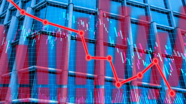 banca baja grafica descenso caida mercado accion papel bursatil pizarra