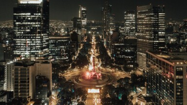 Independence angel in mexico city aerial shot.