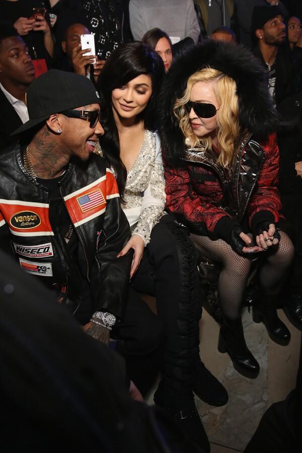 Tyga, Kylie Jenner, Madonna en el desfile de Philipp Plein.