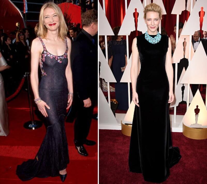 Cate Blanchett en 1998 y 2015.