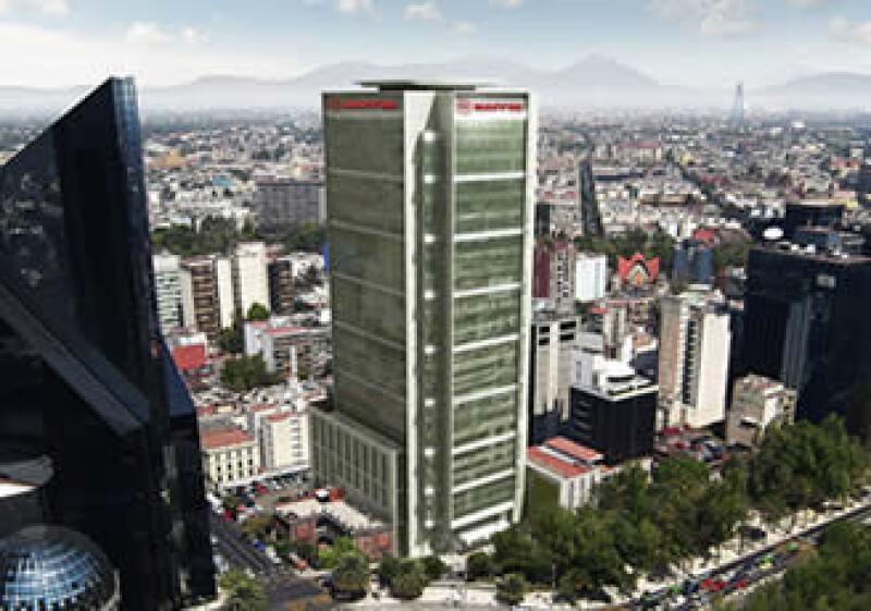 La estructura de la torre Mapfre tendrá 26 pisos y 124 metros de altura. (Foto: Cortesía Mapfre)