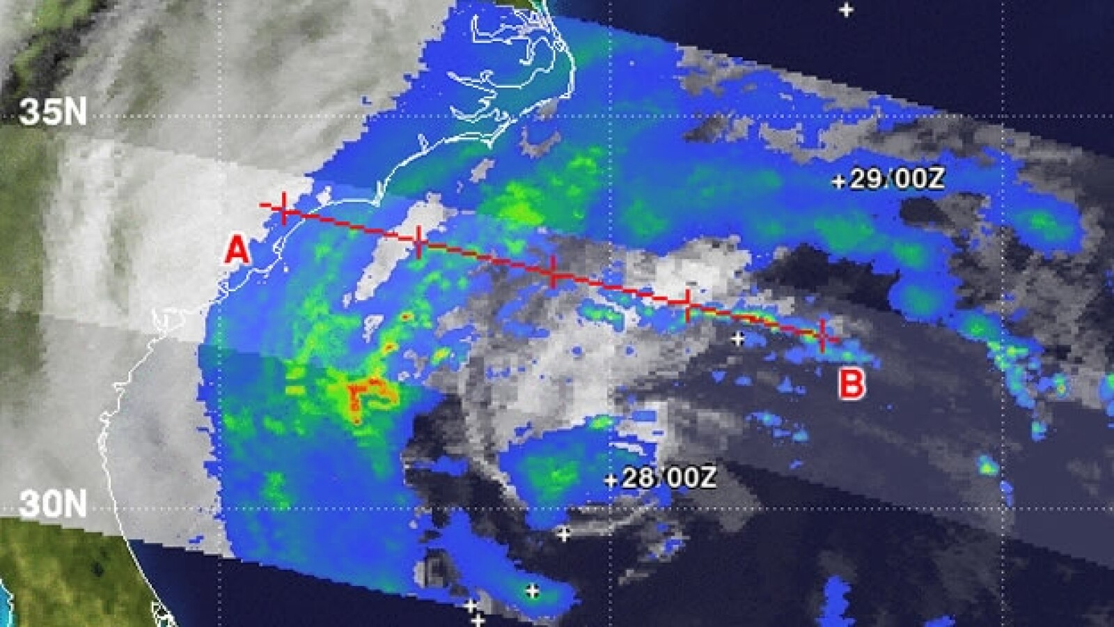 Imagen satelital de la tormenta Sandy