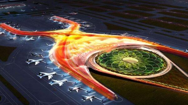 Una ilustración de cómo se verá el edificio del aeropuerto de la Ciudad de México.