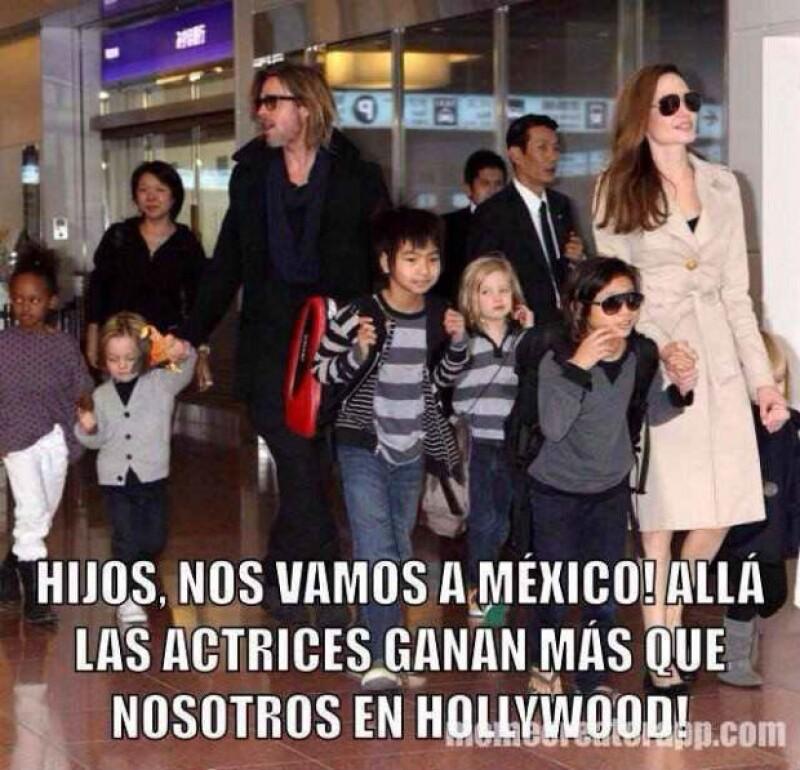 En el meme, la familia Jolie-Pitt también decidió emigrar a México por un mejor futuro.