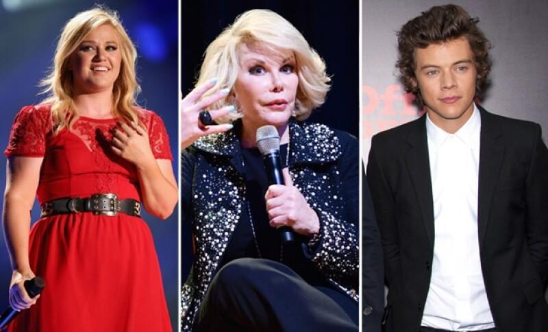 Kelly Clarkson, Joan Rivers y Harry Styles.