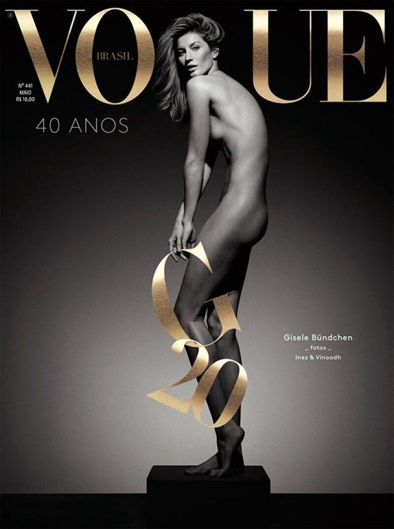 La modelo, que se retiró hace unas semanas de las pasarela en Sao Paulo, lució su impresionante silueta en la portada de Vogue, que la celebra por su exitosa carrera.