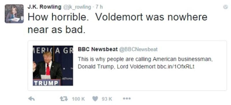Con este tuit, J.K. Rowling expresó su descontento ante las posturas de Trump.