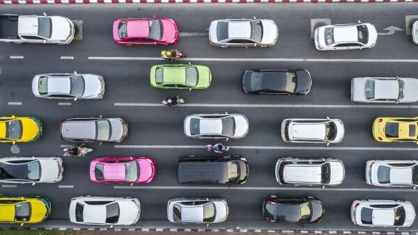 Traffic Jam on multilane road.