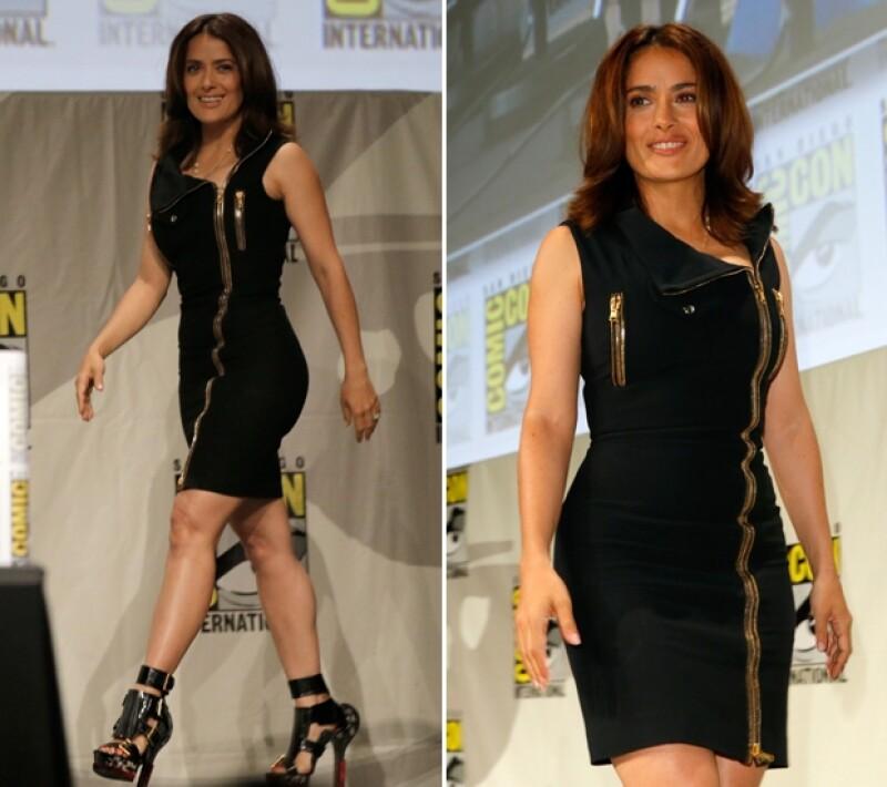 La actriz viajó a San Diego este fin de semana para asistir a la convención internacional de cómics en la que lució este entallado vestido y unos tacones con un toque futurista para la ocasión.