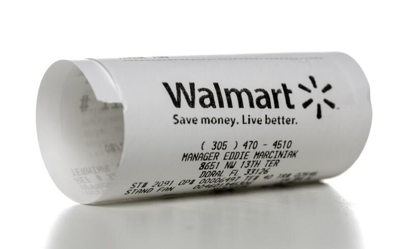 Walmart store receipt