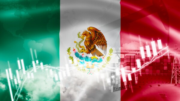Mexico flag, stock market, exchange economy and Trade, oil production, container ship in export and import business and logistics.