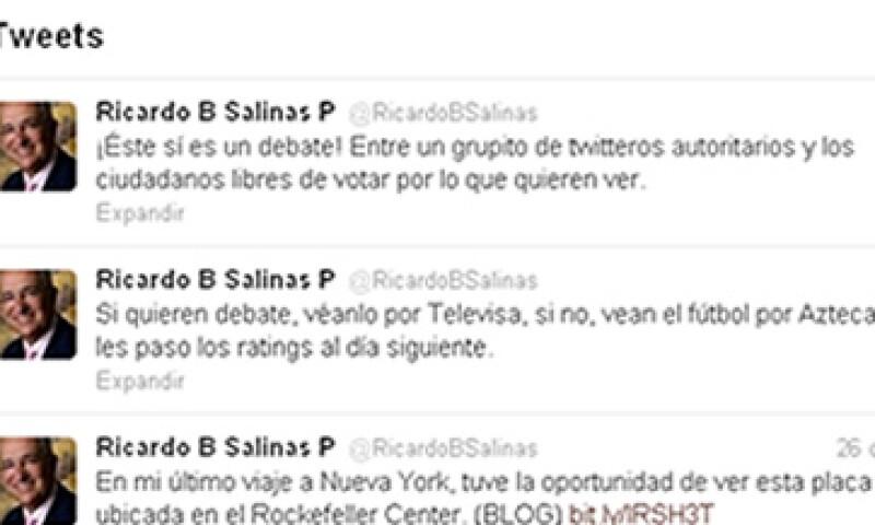 El propietario de TV Azteca, Ricardo Salinas Pliego, recibió críticas por su mensaje en Twitter. (Foto: Imagen tomada de la red social)