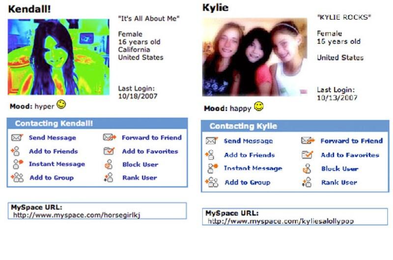 Así lucian los perfiles de Kylie y Kendall en MySpace.