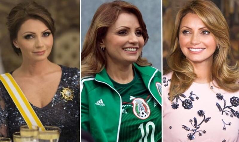 La primera imagen corresponde a la visita que realizaron Peña Nieto y Rivera a Don Juan Carlos y Doña Sofía de España el 10 de junio pasado. La segunda fue tomada durante el partido de México contra Croacia el 23 de junio. La tercera imagen corresponde al look actual de la esposa del presidente.