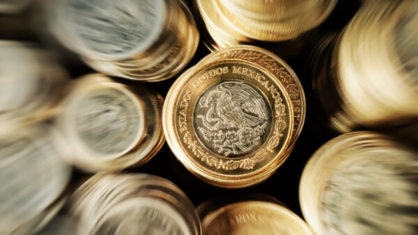 Stacked Mexican Peso Coins Zoom