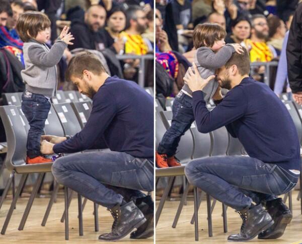 El futbolista se mostraba de lo más cariñoso con su hijo, cosa que Milan le correspondía con gestos tiernos.