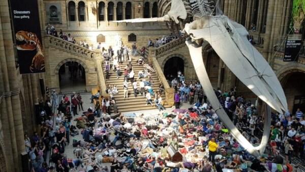 """Ambientalistas """"se mueren"""" protestando en Museo de Historia Natural de Londres"""