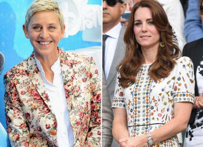 La conductora y comediante Ellen DeGeneres asegura que es prima lejana de Kate Middleton, su árbol genealógico se remonta al siglo XVI.