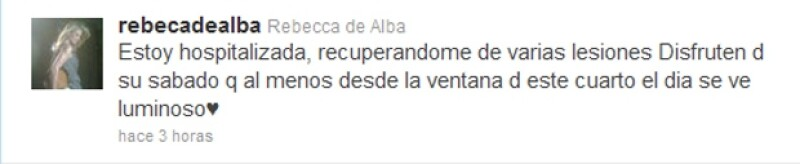 La conductora de televisión publicó en su cuenta de Twitter que había sufrido diferentes lesiones a causa del percance.