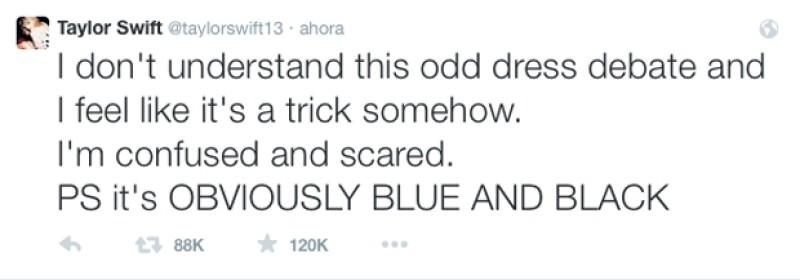La cantante llevó a Twitter su frustación por el color del vestido.
