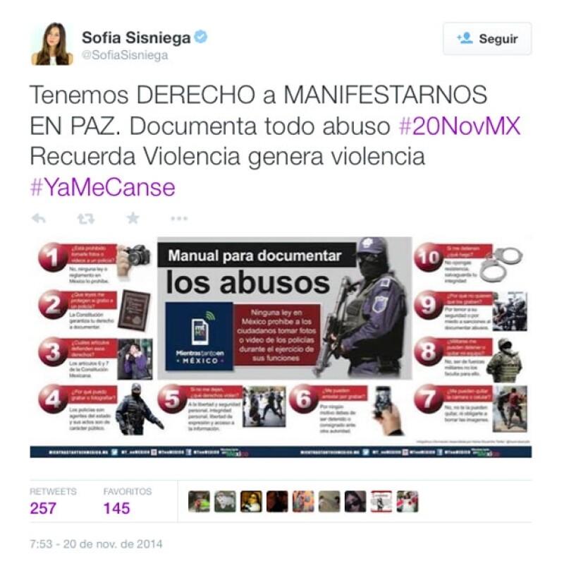 Sofía Sisniega expresó que todos tienen derecho a manifestar su inconformdiad.