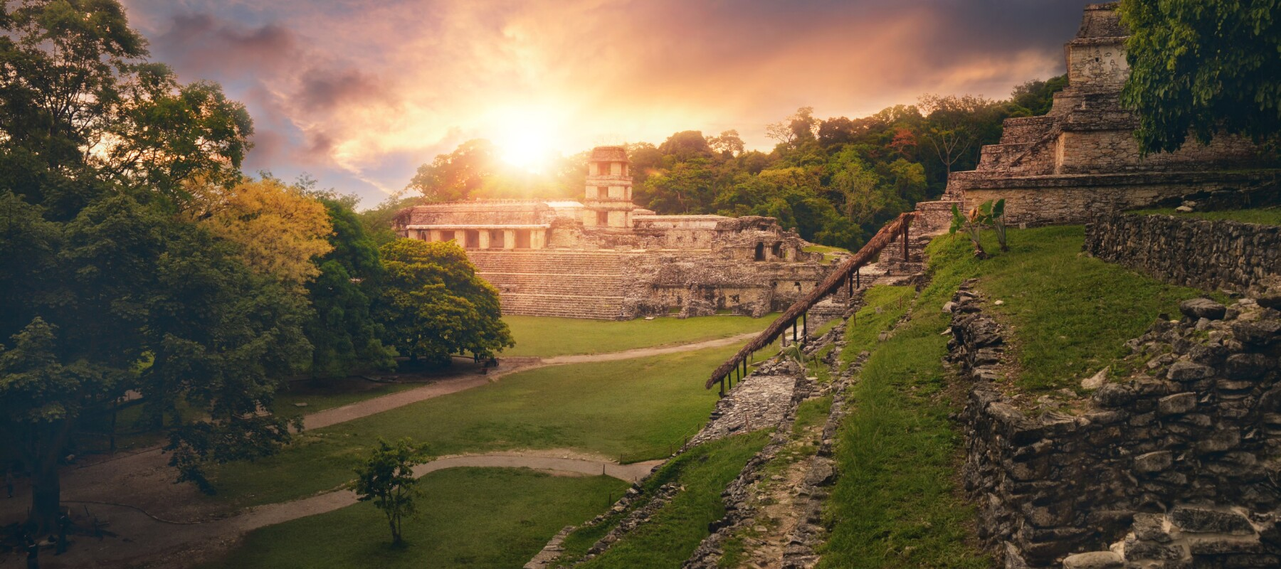 Panoramic view pyramid of Inscriptions and the Palace observatory. Mexico Tren Maya