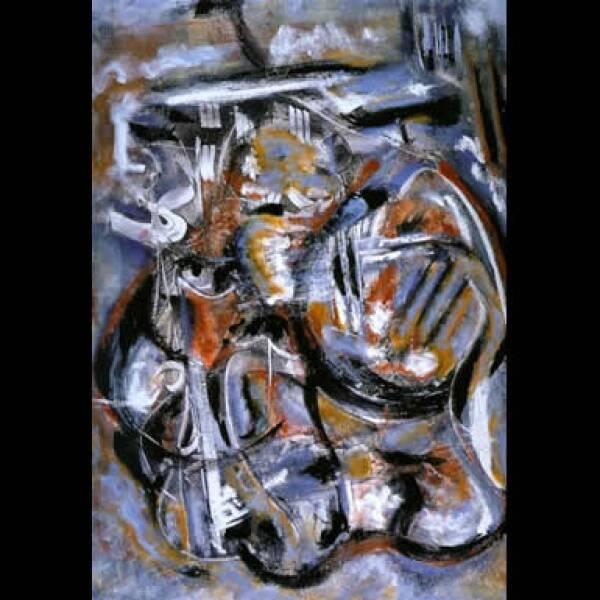 """""""Incursiona en el vacío de la abstracción, su arte nos habla de su experiencia lírica"""", juzga el pintor Sergio Hernández. """"Hombre de la orquesta"""", 2004, acrílico sobre tela, 1.20 x 1.00 m"""