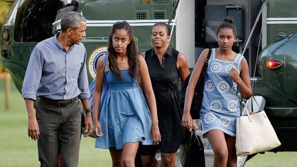 Barack, Malia, Michelle y Sasha Obama