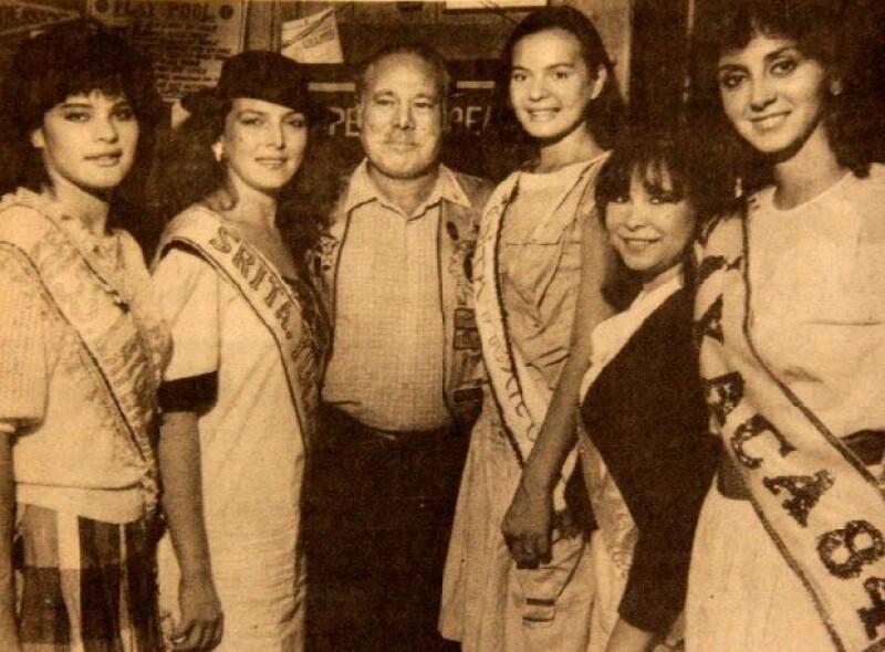 Luz Beristain fue Miss Yucatán en 1984, en la foto aparece (con sombrero) junto a Don Blackwell del Club de Leones de California, EUA.