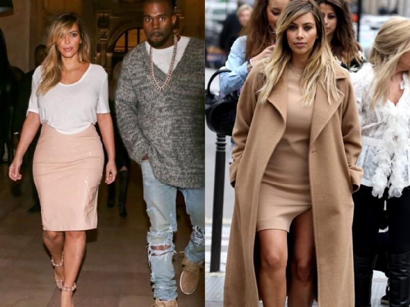 Kim regresó a los outfits ajustados durante Paris Fashion Week.