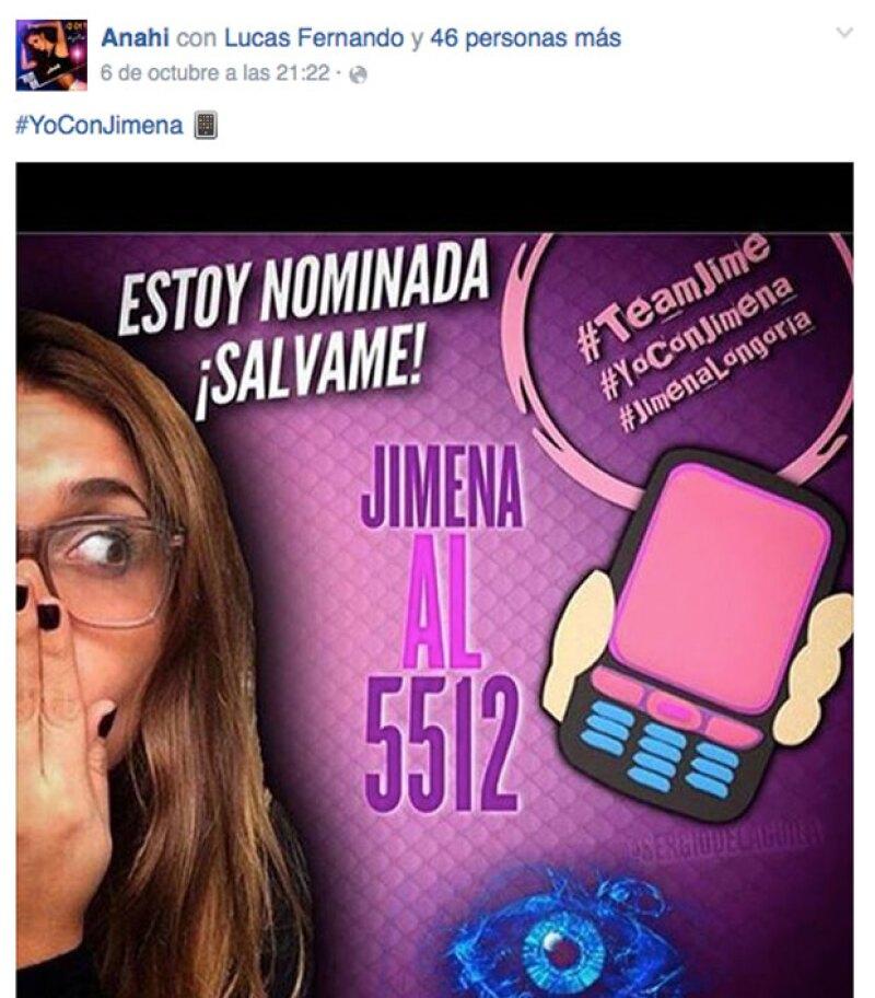 Recientemente Anahí también le había mostrado su apoyo a Jimena.