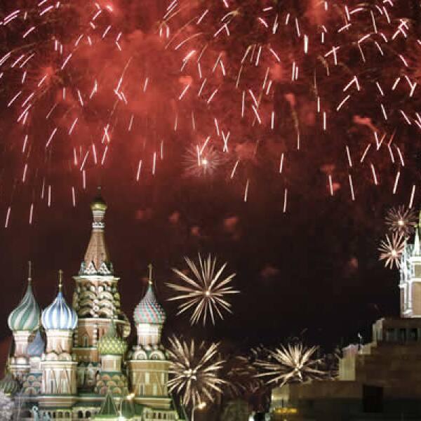 La celebración de año Nuevo en la Plaza Roja de Moscú, en Rusia.