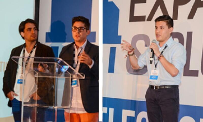Dos socios de Aballoon Songwriter y el CEO de Bochito en su presentación frente al jurado de Expansión-PlugandPlay.(Foto: CNNExpansión )