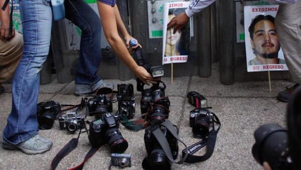 periodistas protesta marcha