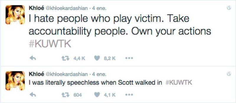 "Con estos tuits, Khloé expresó su molestia, atacando a Scott por ponerse en ""plan de víctima""."