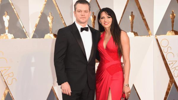 Matt Damon y Luciana Barroso (Getty Images)
