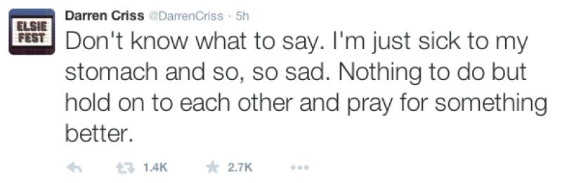 La ex estrella de Glee también hizo saber su sentir ante la situación.