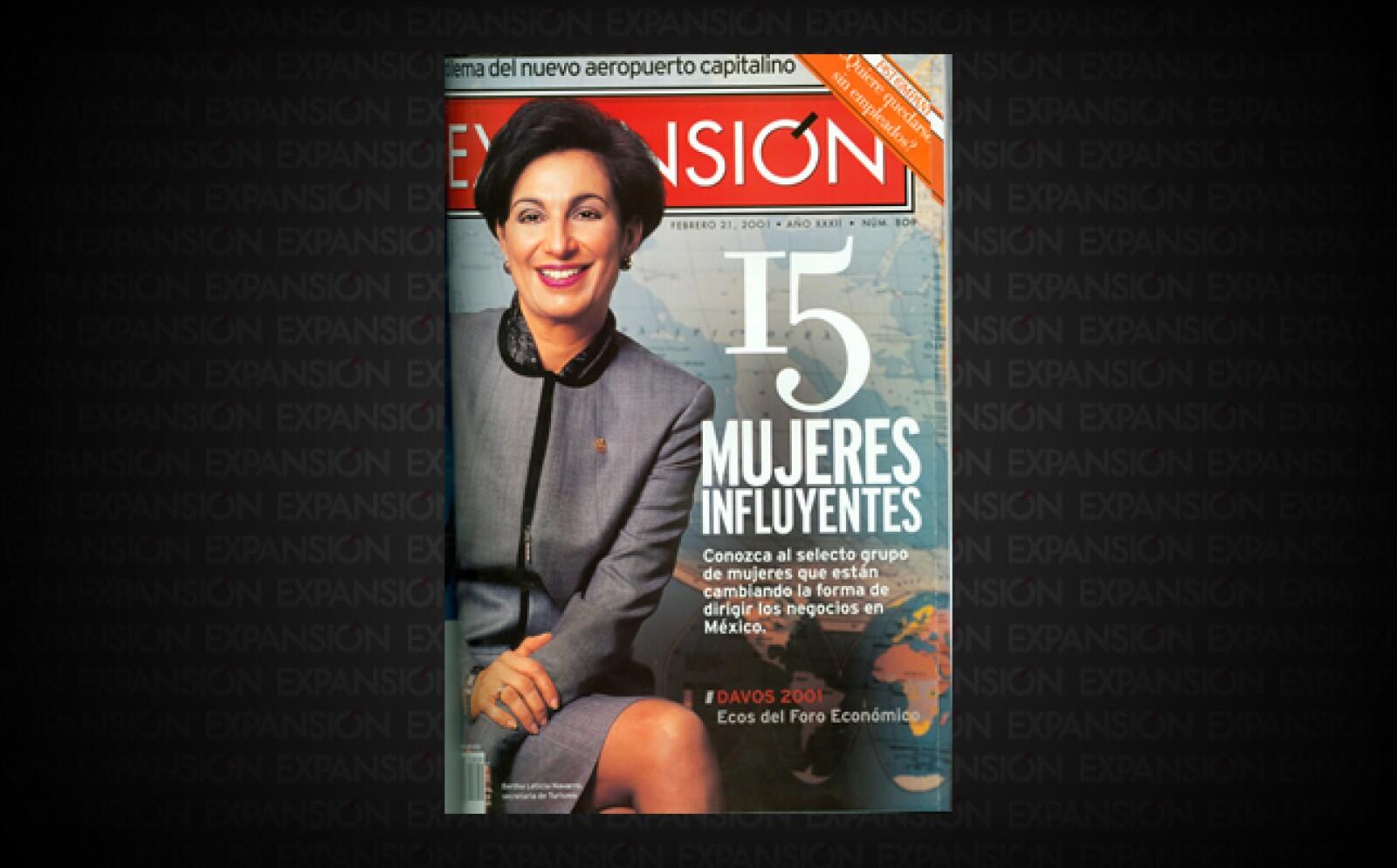 Este año fueron '15 mujeres influyentes'. En aquel año sólo 20% de los puestos en el grupo de funcionarios y directivos asalariados, eran ocupados por mujeres. En esta portada, Bertha Leticia Navarro, secretaria de Economía.