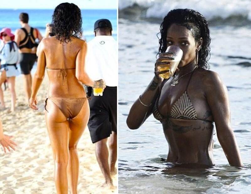 La cantante pasó unos días en su natal Barbados donde disfrutó del mar, sol, algunos drinks y por supuesto que no dejó de subir fotos de ella en Instagram.