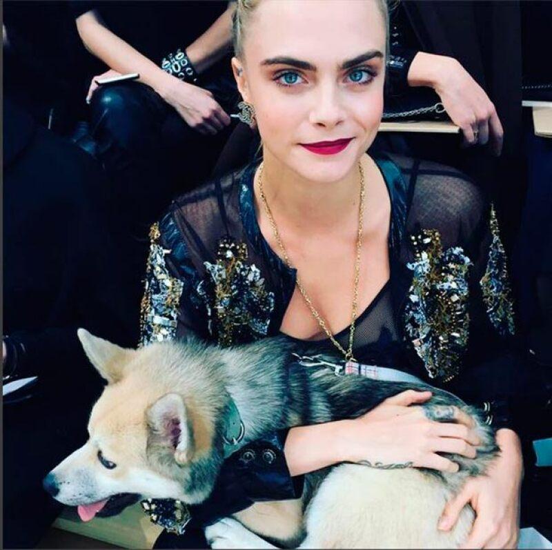 La modelo asistió al desfile, en Paris Fashion Week, acompañada por Leo, su nuevo perro.